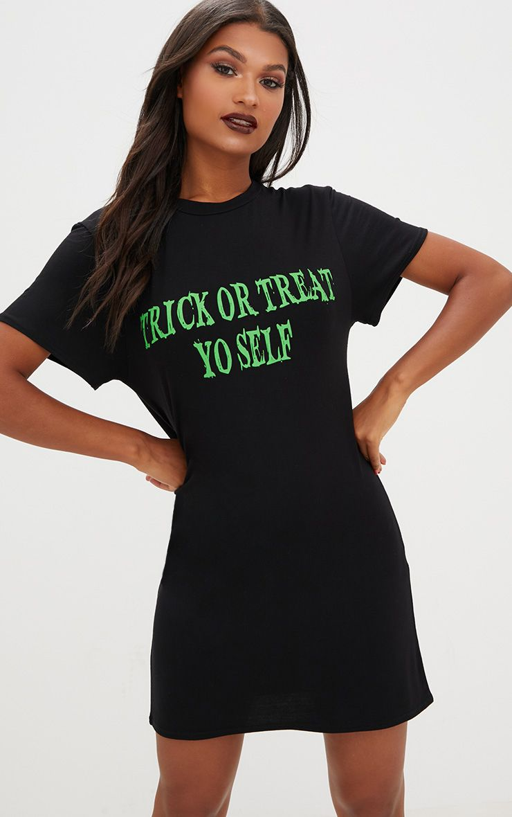 Black Jersey 'Trick Or Treat Yo Self' T Shirt Dress