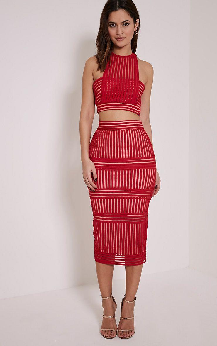 Velette Red Striped Mesh Midi Skirt 1