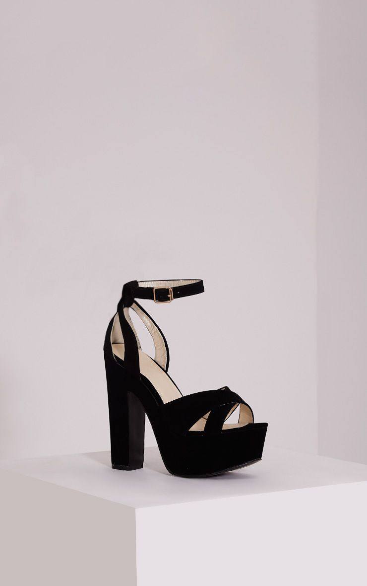 Leya Black Faux Suede Platform Sandals 1