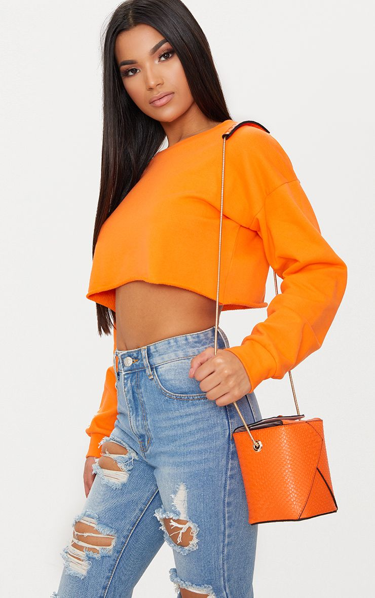 Orange Rectangle Textured Chain Body Bag 1