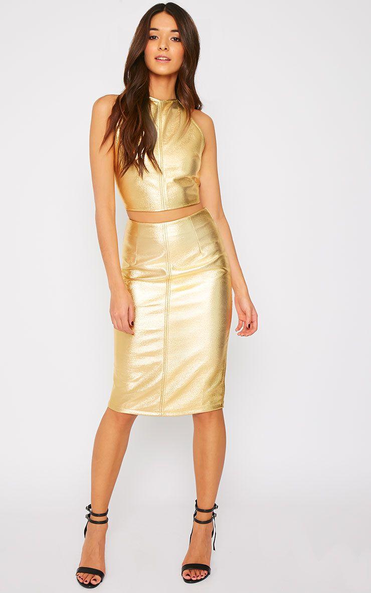 Catalina Gold Coated Midi Skirt 1
