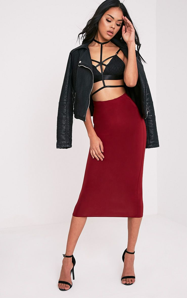 Steffany Burgundy Slinky Long Line Midi Skirt