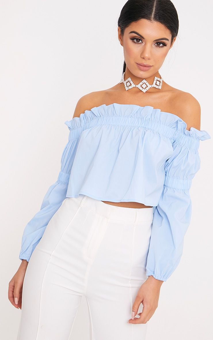 Femi Pale Blue Bardot Frill Ruched Sleeve Top