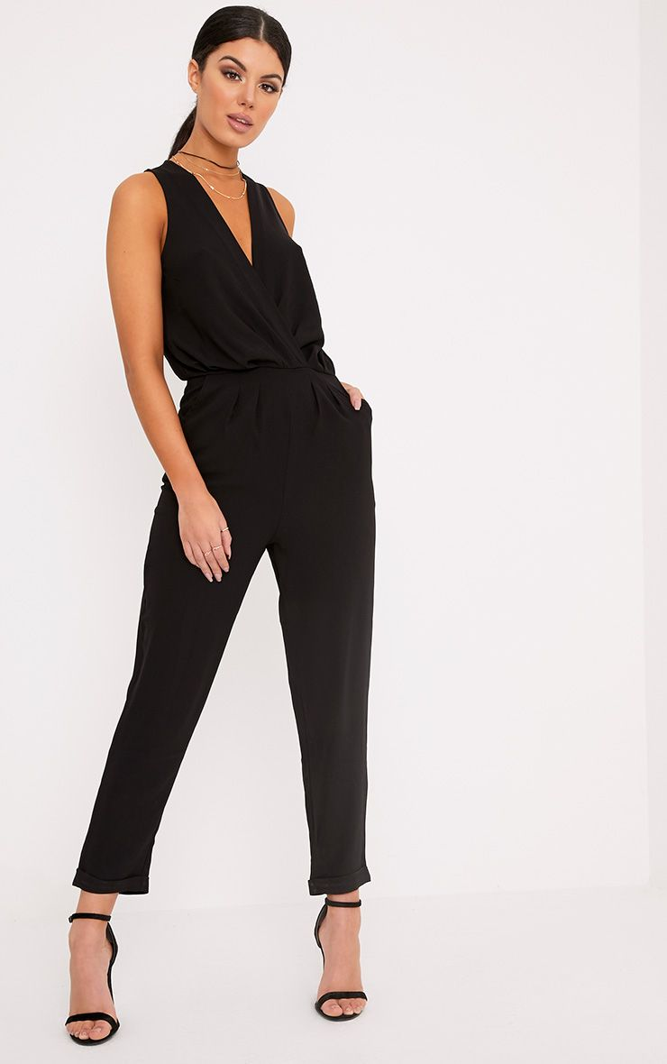 Tracey Black Wrap Front Jumpsuit