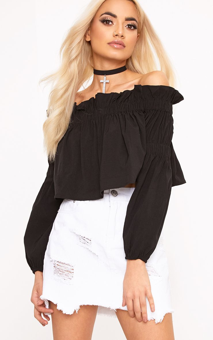Femi Black Bardot Frill Ruched Sleeve Top