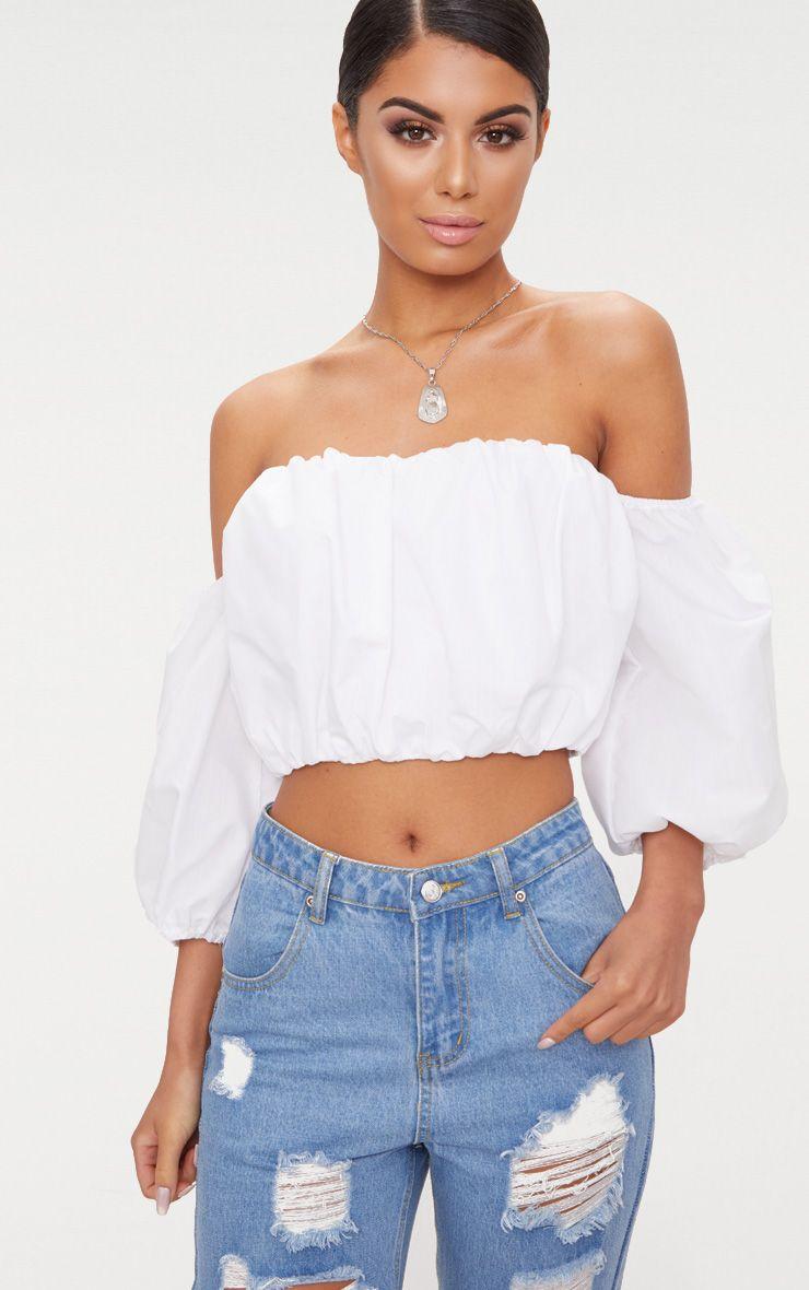 White Puff Hem Bardot Crop Top