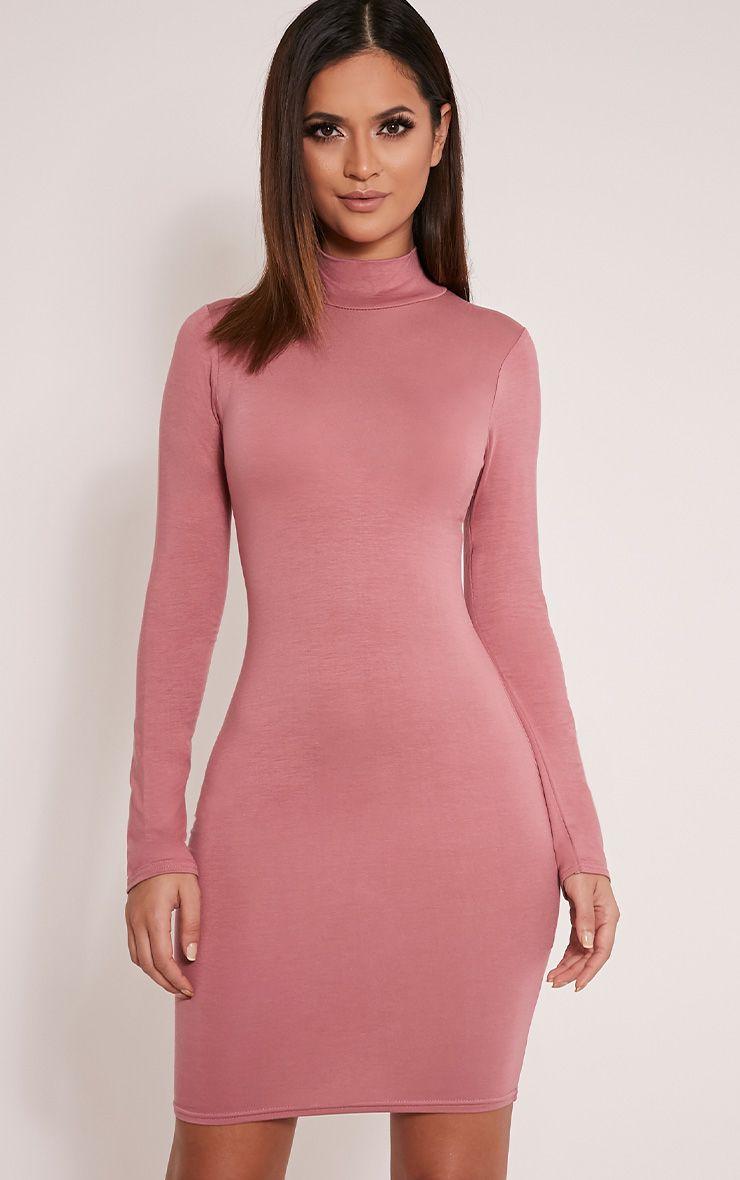 Basic Rose Long Sleeve Bodycon Dress 1