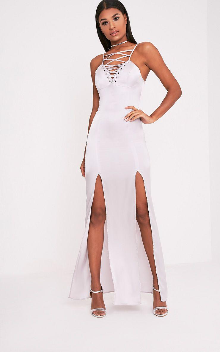 Kiria Silver Grey Lace Up Satin Maxi Dress