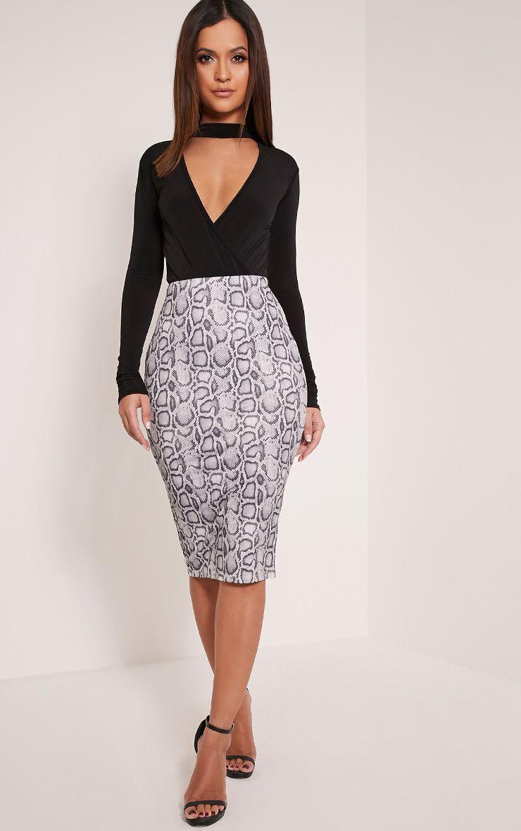 Rosanne Grey Snake Print Midi Skirt 1