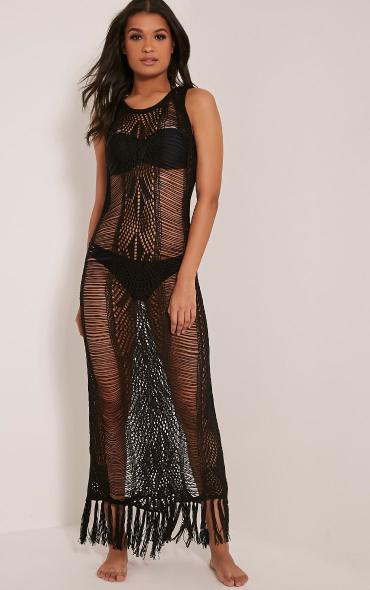 Rashida Black Crochet Maxi Dress