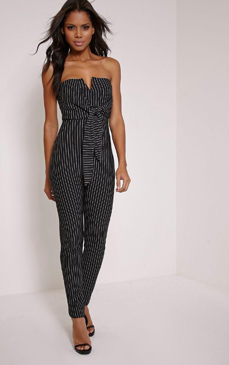 Daisie Black Pinstripe Tie Front Jumpsuit