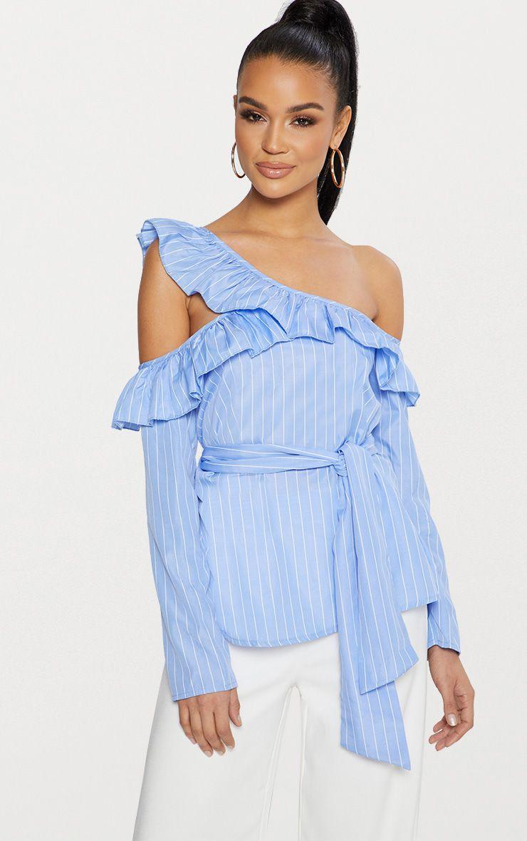 Blue Pinstripe Frill Detail Cold Shoulder Shirt