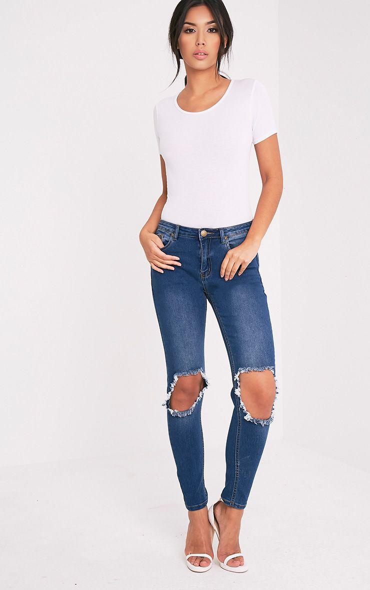 Kim Mid Wash Open Knee Rip Slim Jean