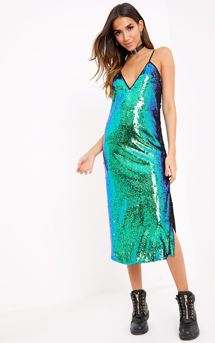 Ester Green Strappy Sequin Midi Dress