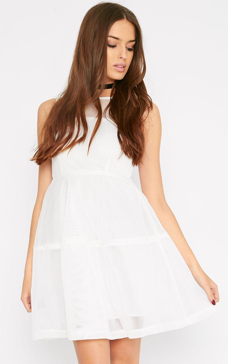 Hannie White Net Skater Dress 1