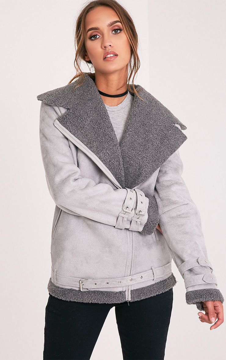 Emilia Grey Faux Suede Aviator Jacket