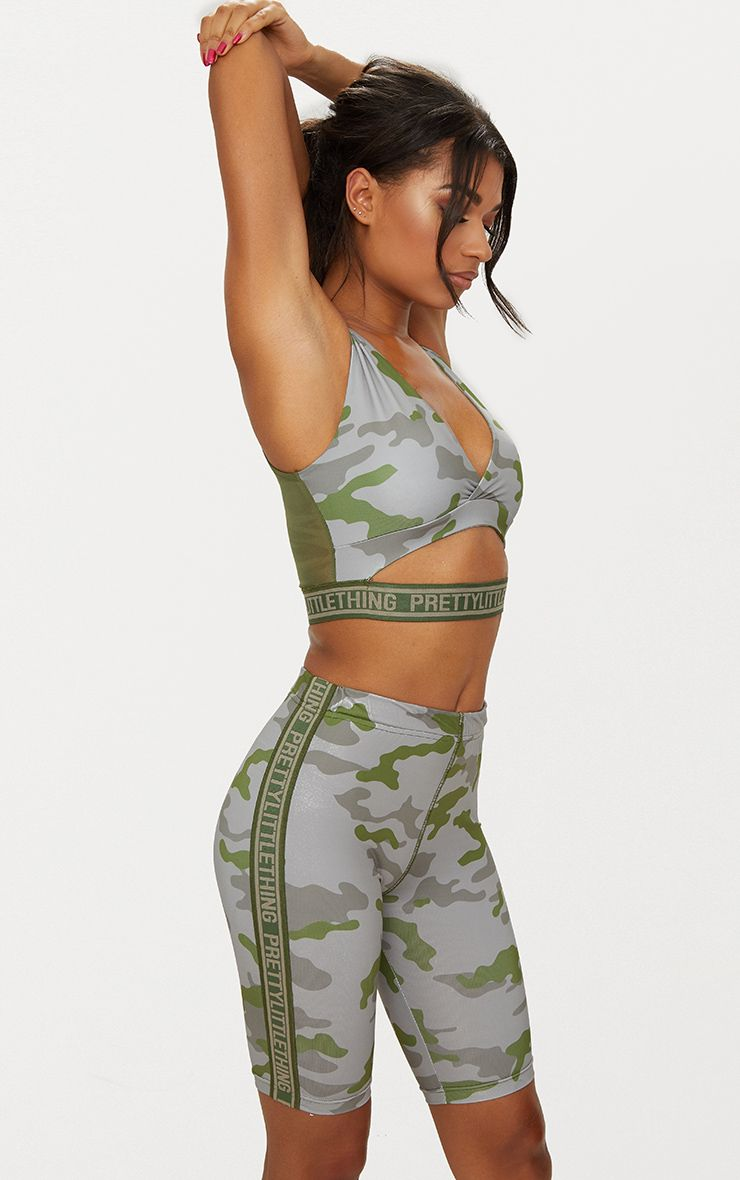 Khaki Camo Mesh Back Crop Top