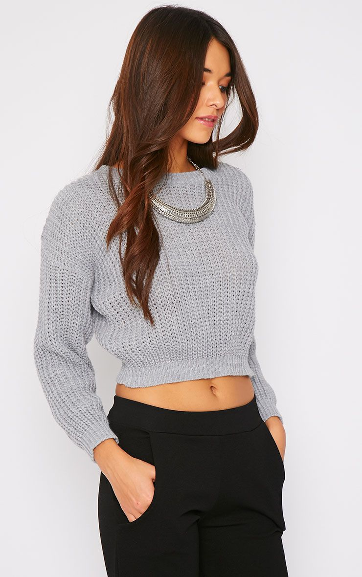 Teri Grey Round Neck Cropped Knit Jumper 1
