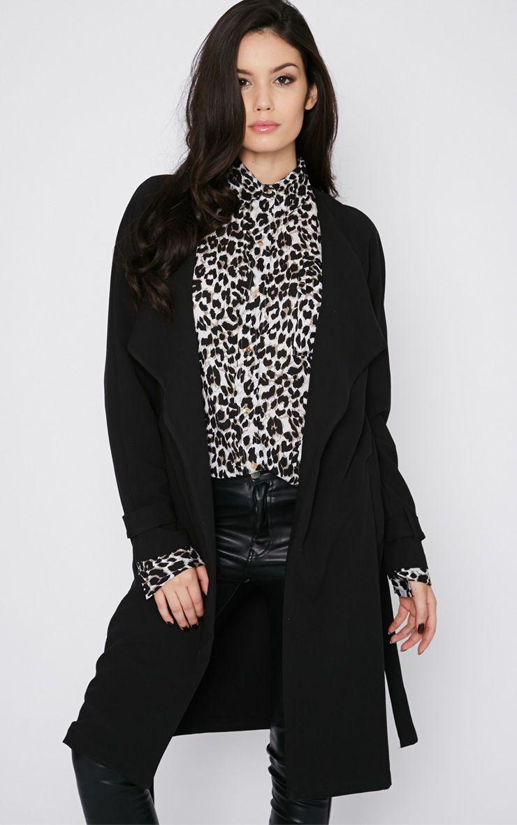 Ashia Black Trench Coat Black