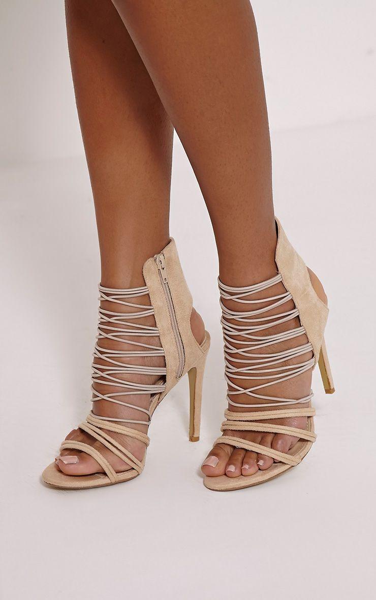 Anina Nude Faux Suede Multi Strap Heels 1