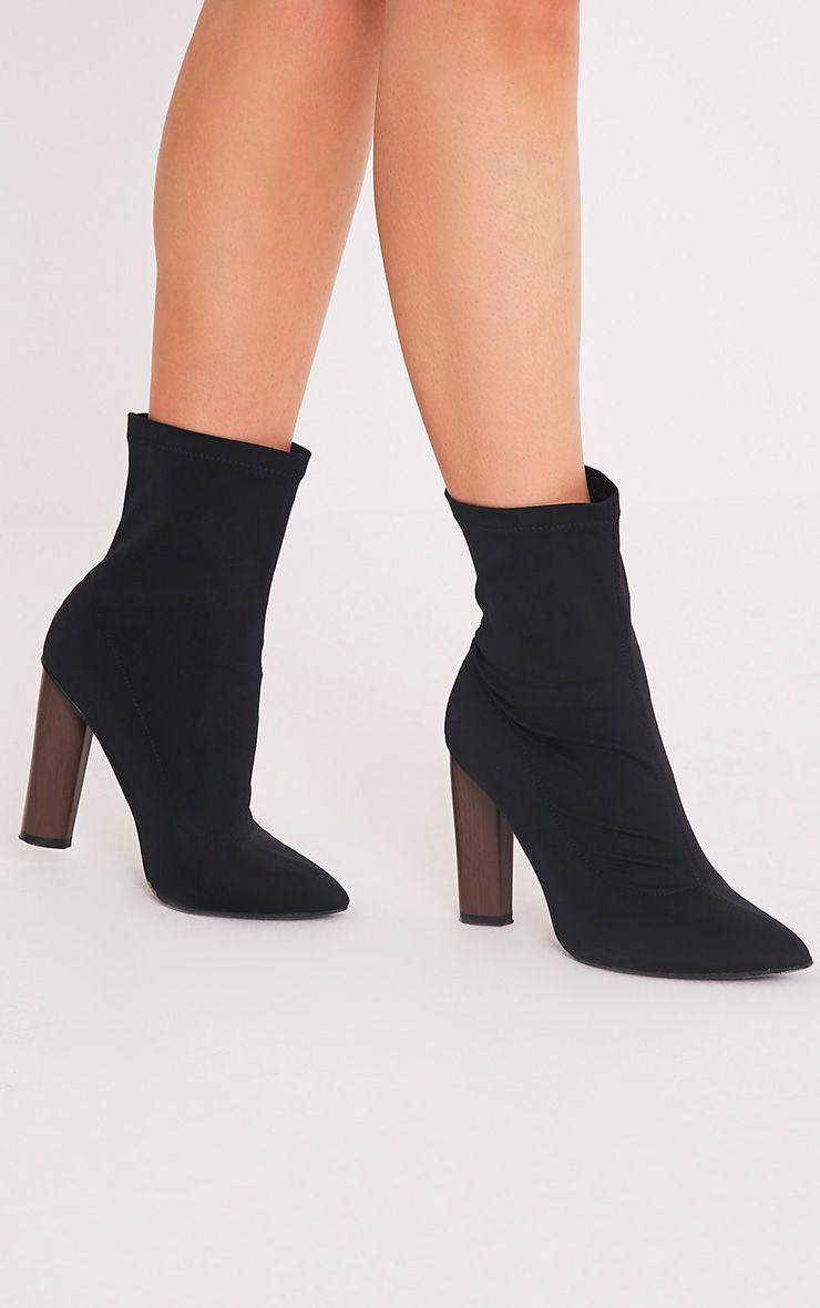 Celisa Black Lycra Ankle Boots