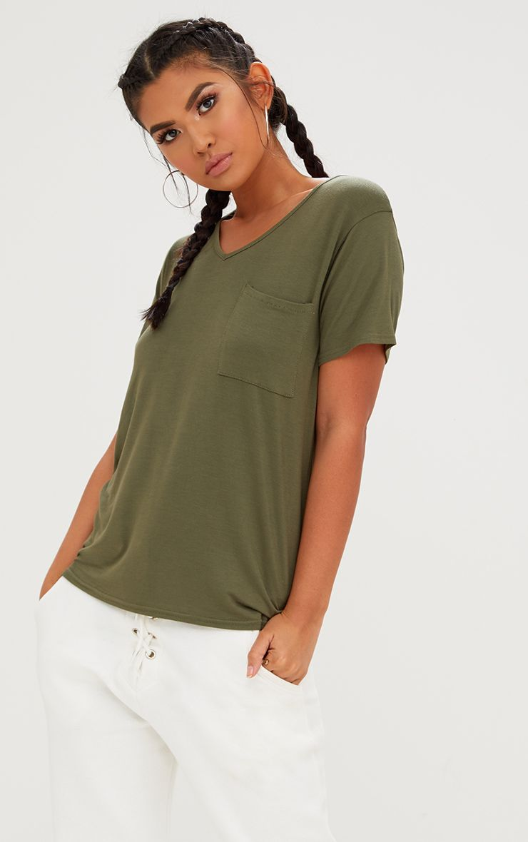 Khaki Basic V Neck Pocket T Shirt