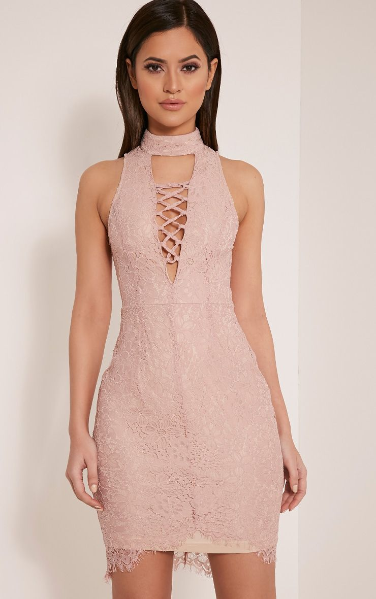 Reyah Dusty Pink Lace Neck Detail Midi Dress 1