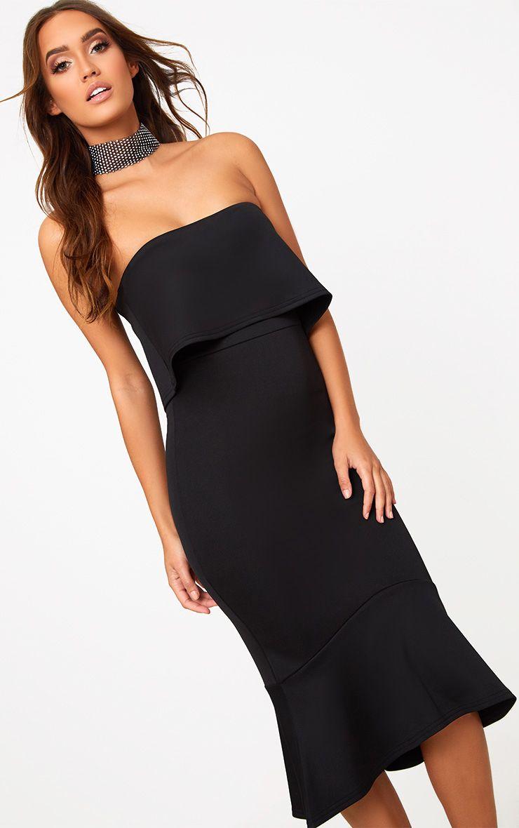 Black Bandeau Frill Hem Midi Dress