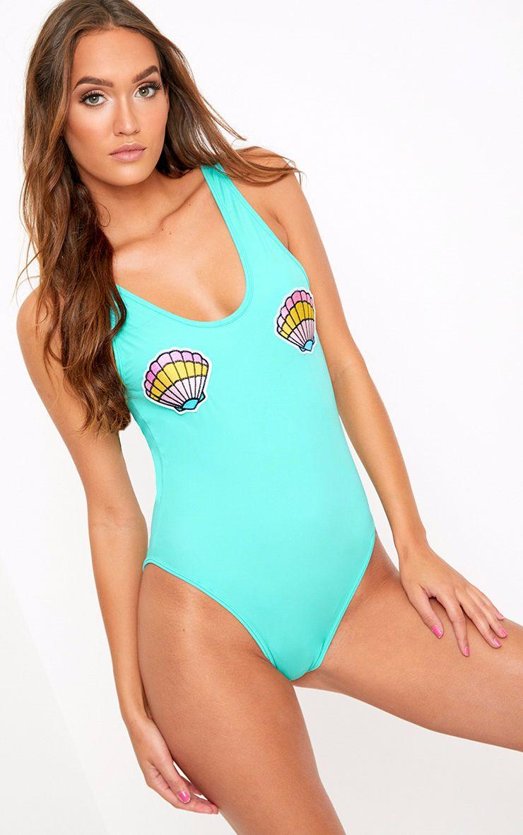 Blue Shell Applique Swimsuit