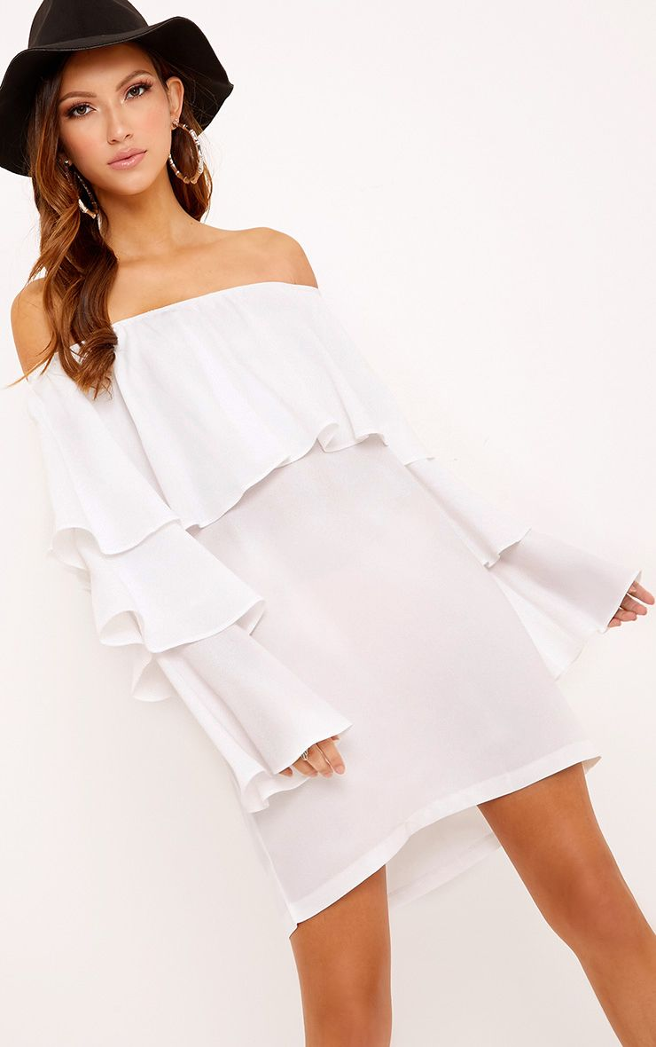 Neah White Bardot Layered Frill Shift Dress