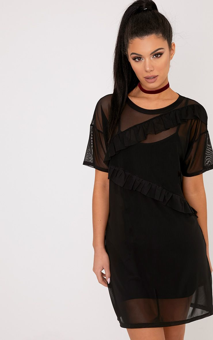 Hannie Black Ruffle Mesh T Shirt Dress
