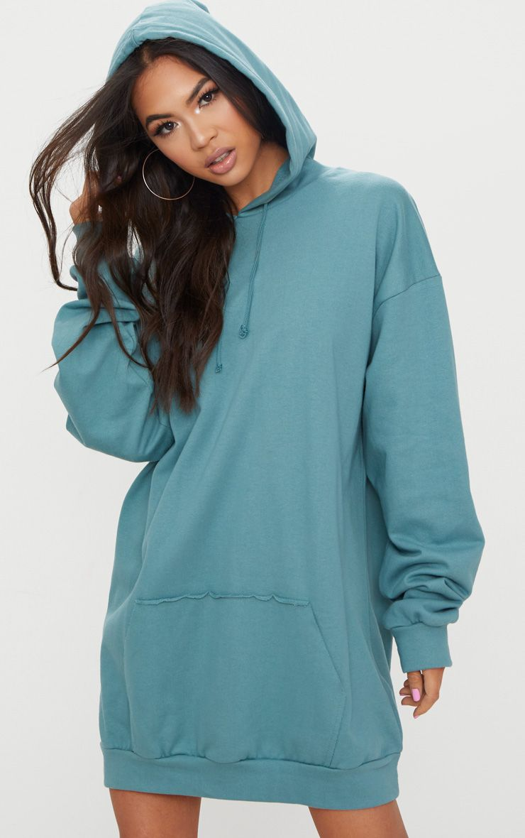 Mineral Blue Oversized Hoodie Dress
