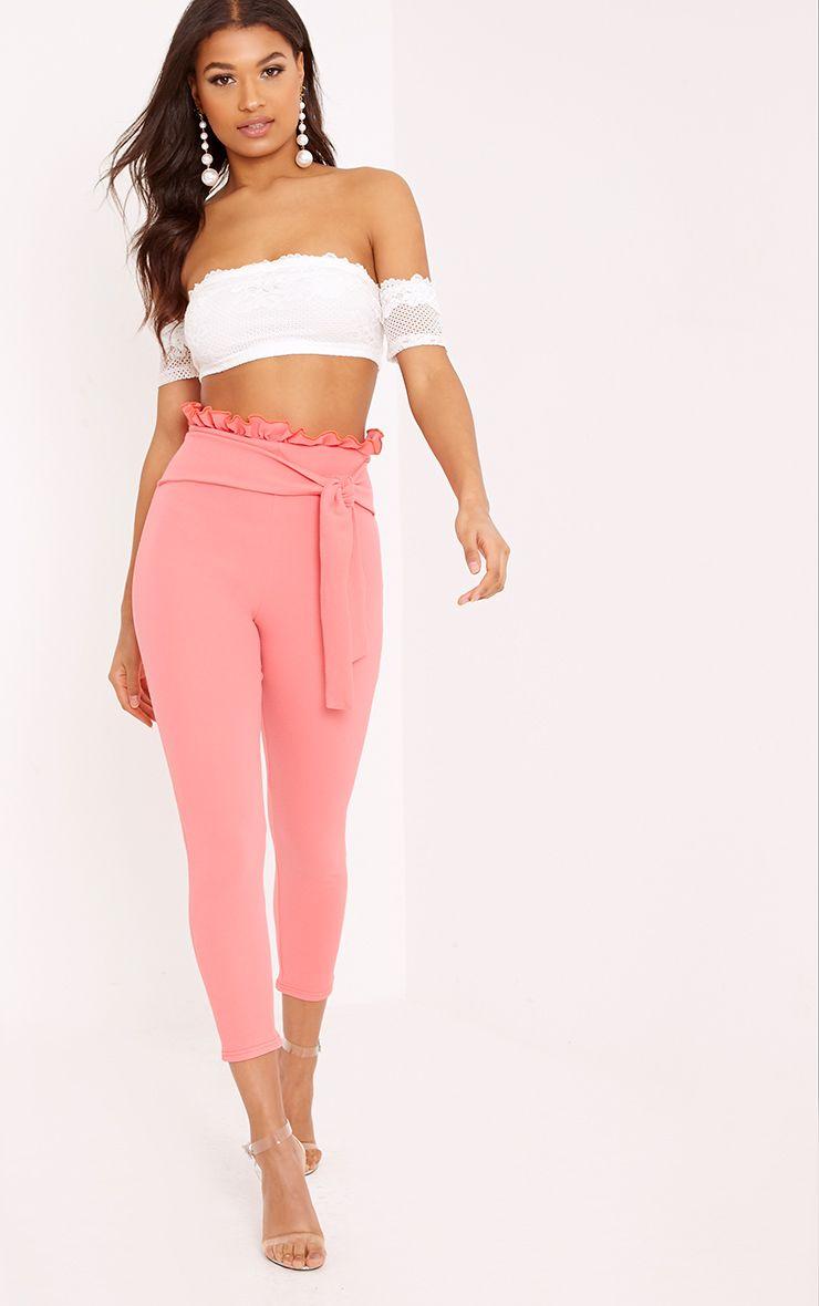 Perlita Coral Paperbag Skinny Trousers