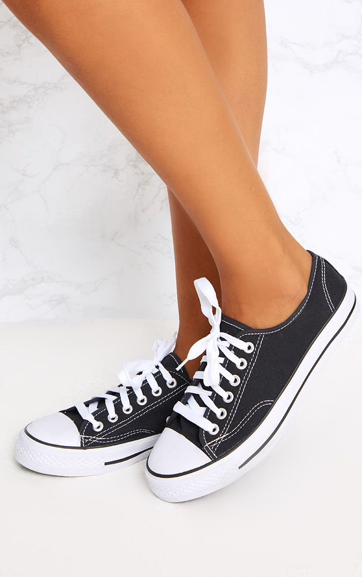Black Lace Up Canvas Pumps
