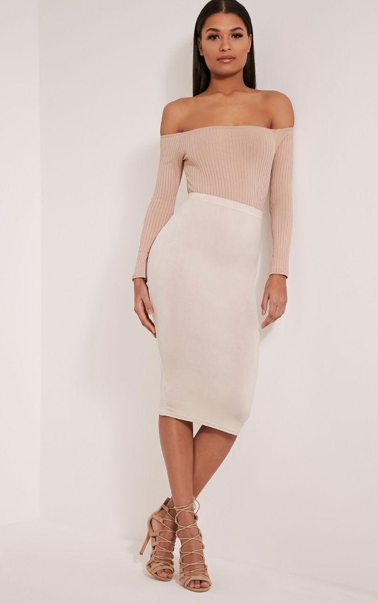 Basic Stone Midi Skirt