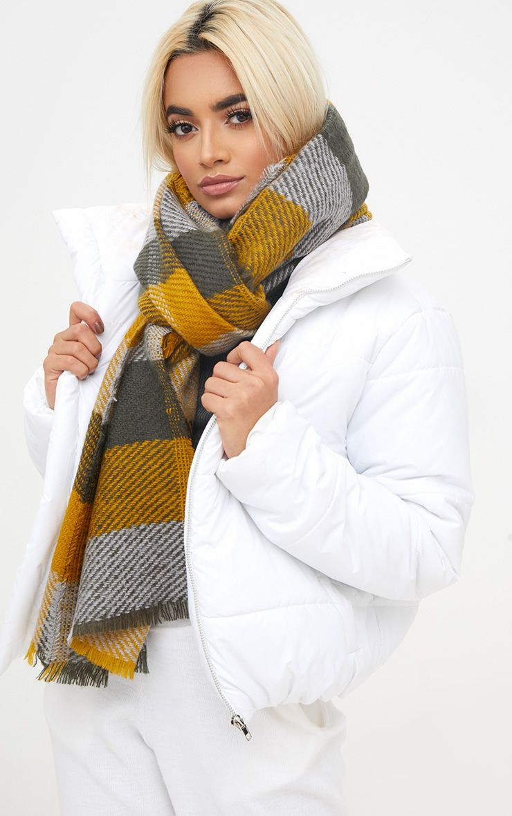 Mustard Check Supersoft Oversized Chunky Scarf
