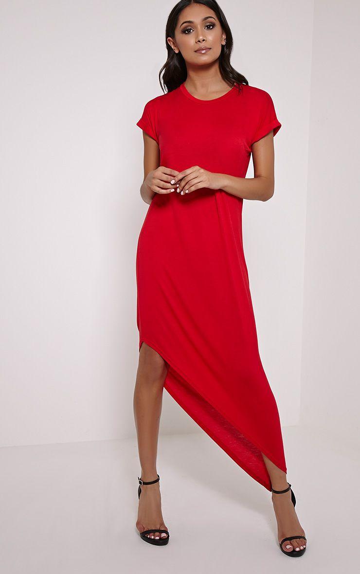 Nolah Red Asymmetric T-Shirt Dress 1