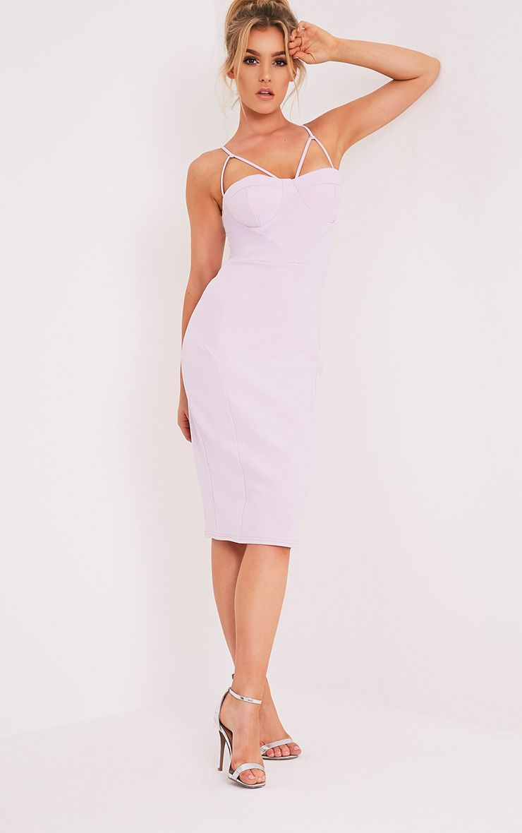 Carrie Mauve Crepe Panel Midi Dress 1