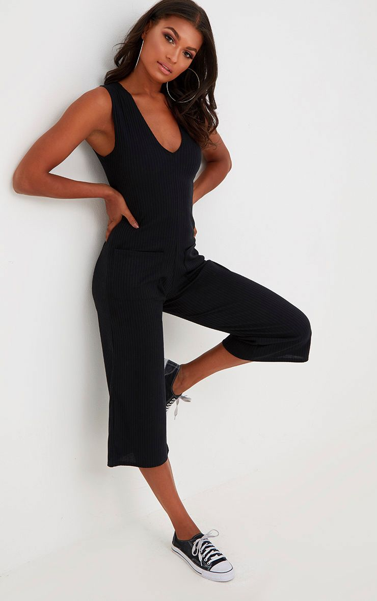 Black Ribbed Culotte Pocket Jumpsuit