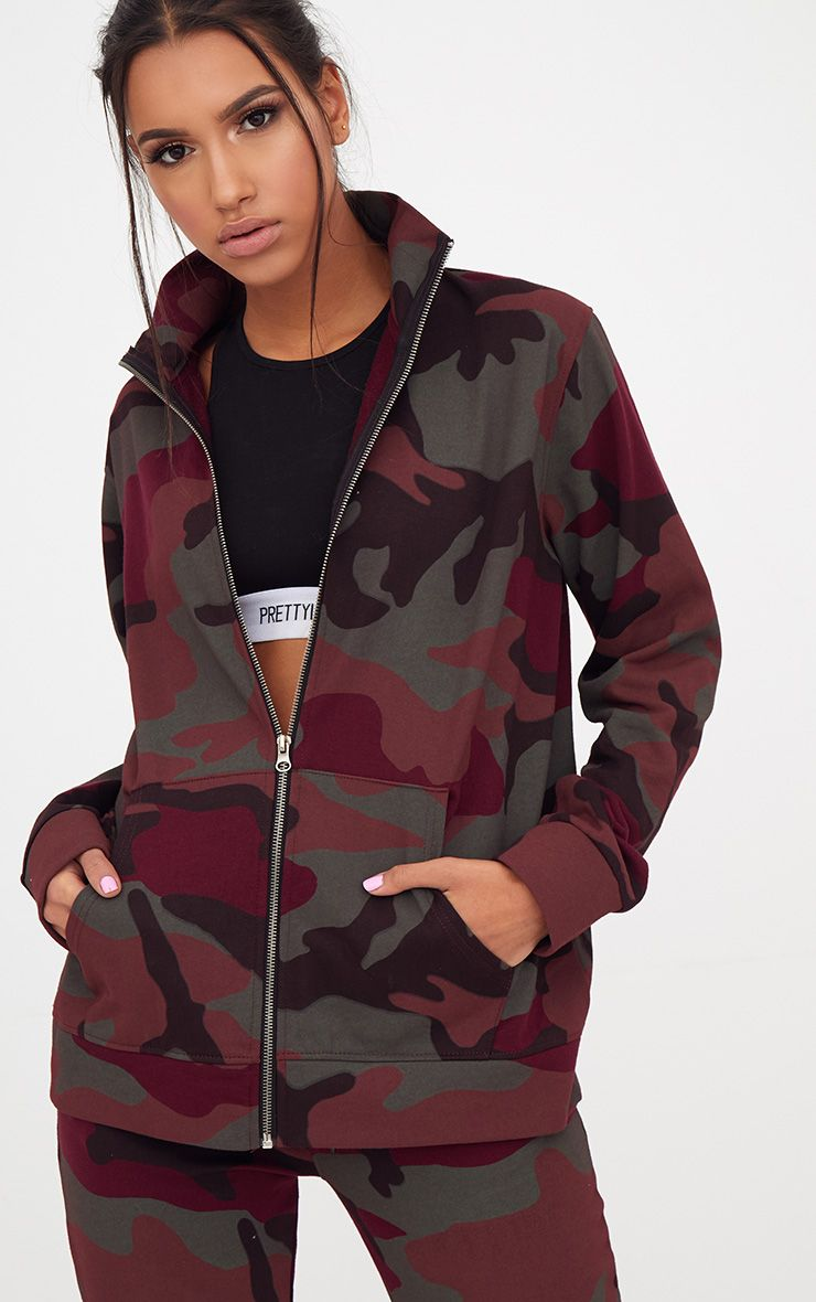 Burgundy Camo Oversized Tracksuit Top