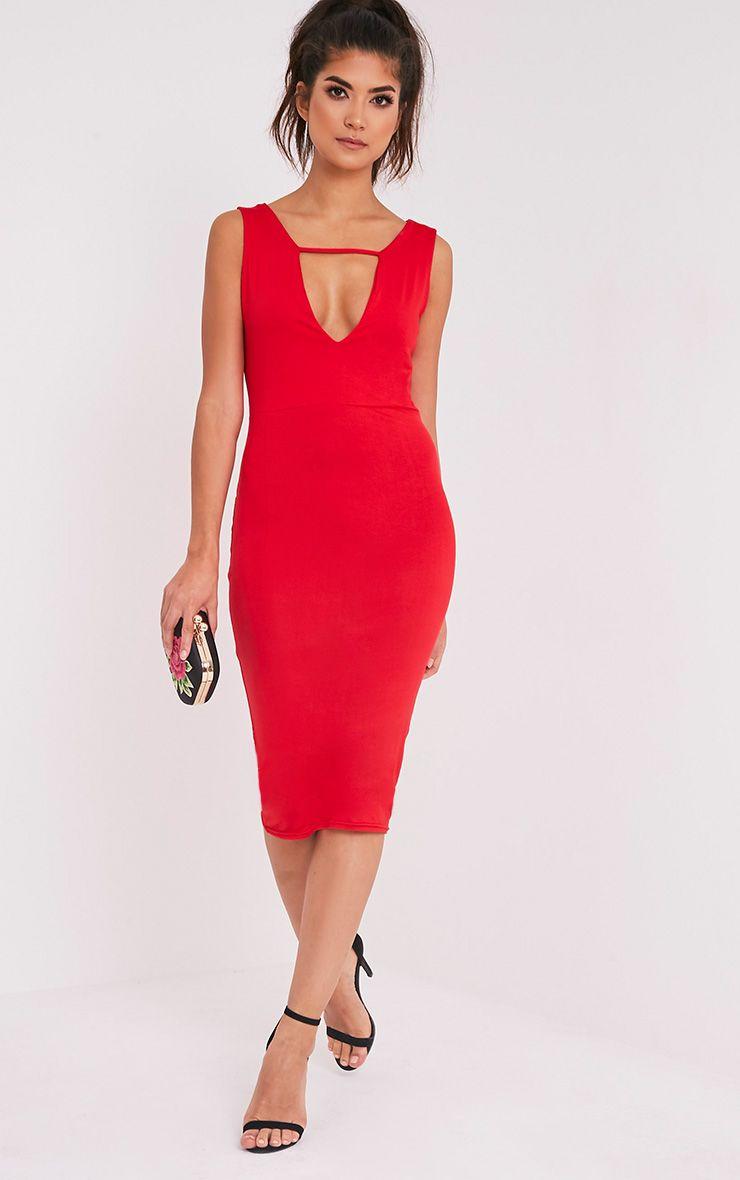 Basic robe midi plongeante à détail avec lanières rouge 5