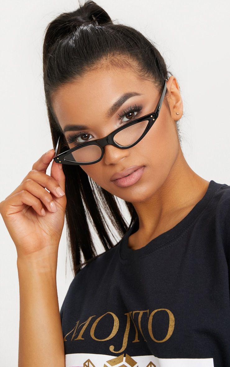 Black Clear Lens Cat Eye Skinny Sunglasses