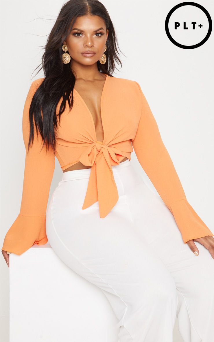 PRETTYLITTLETHING Plus Tie Front Frill Sleeve Blouse Buy Cheap Shop For Buy Cheap Shopping Online On Hot Sale Cheapest Price Cheap Price Clearance Manchester Great Sale 3bhHDdcXZ