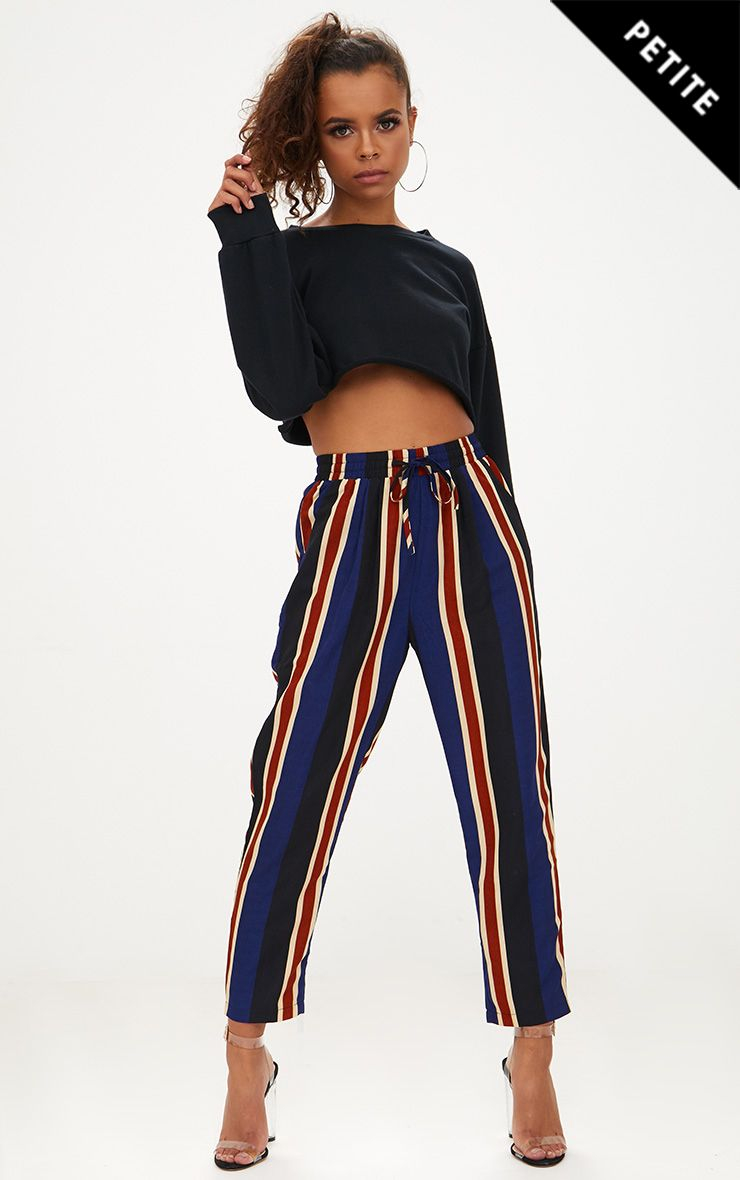 Petite Navy Stripe Casual Trousers
