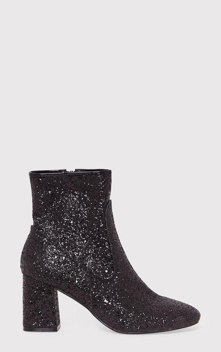 Rhianne Black Glitter Ankle Boots 1