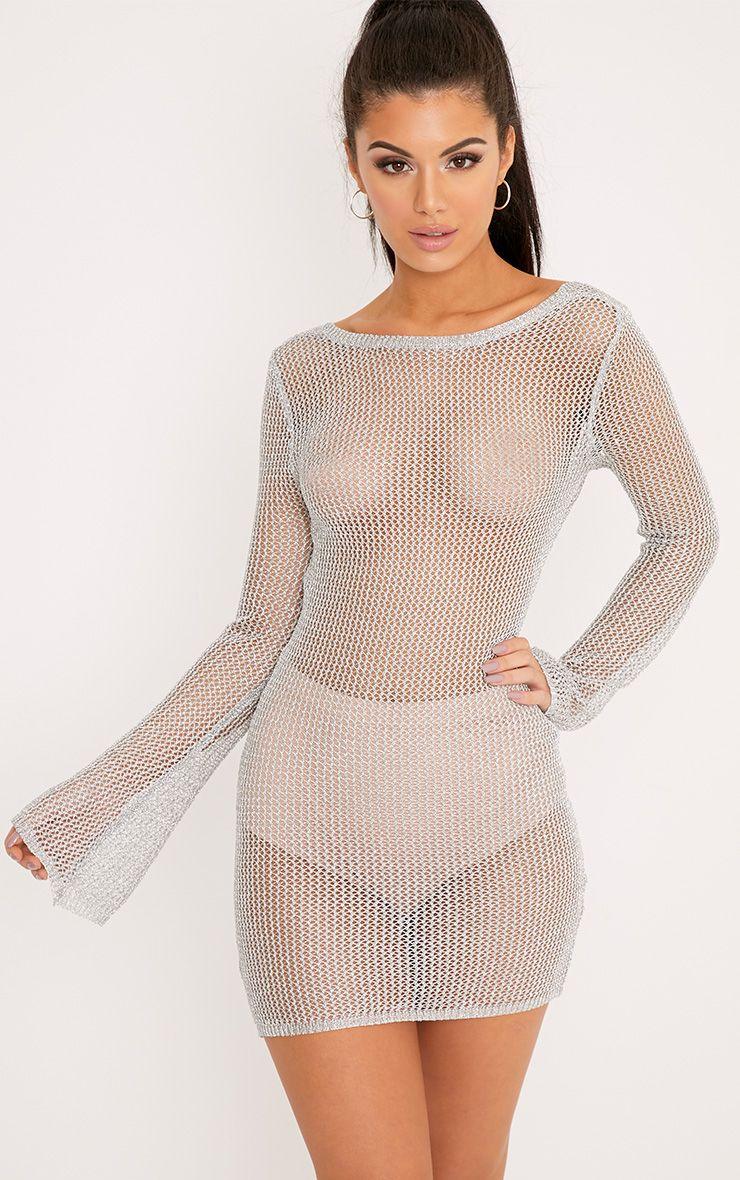 Eshe robe mini transparente à manches cloches argent métallisé