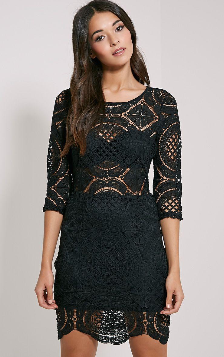 Annice Black Crochet Scallop Edge Dress 1