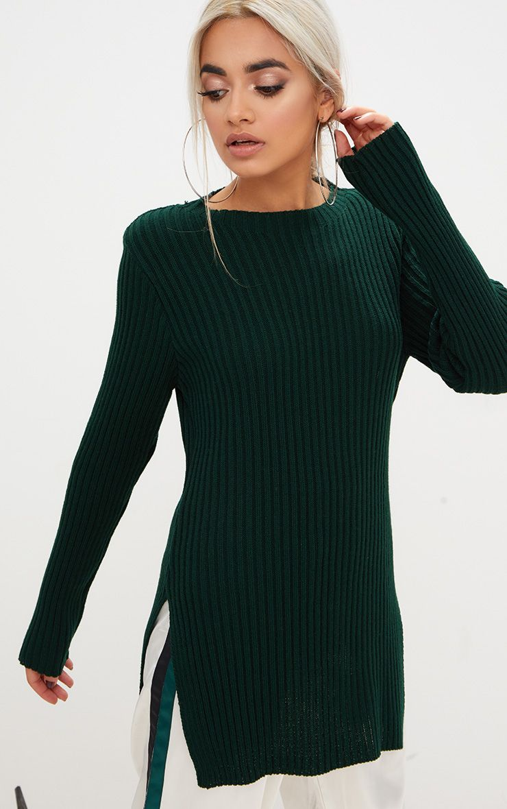 Forest Green Round Neck Side Split Knitted Jumper