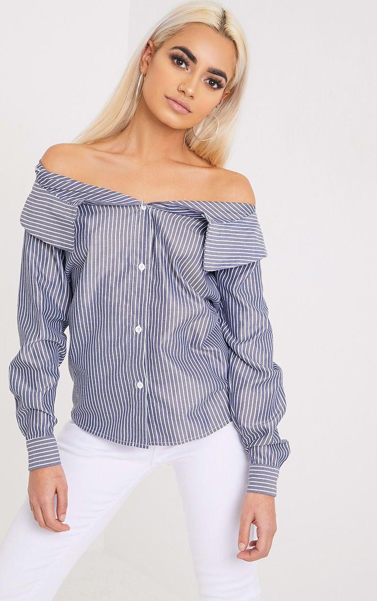 Abagel Blue Stripe Bardot Shirt