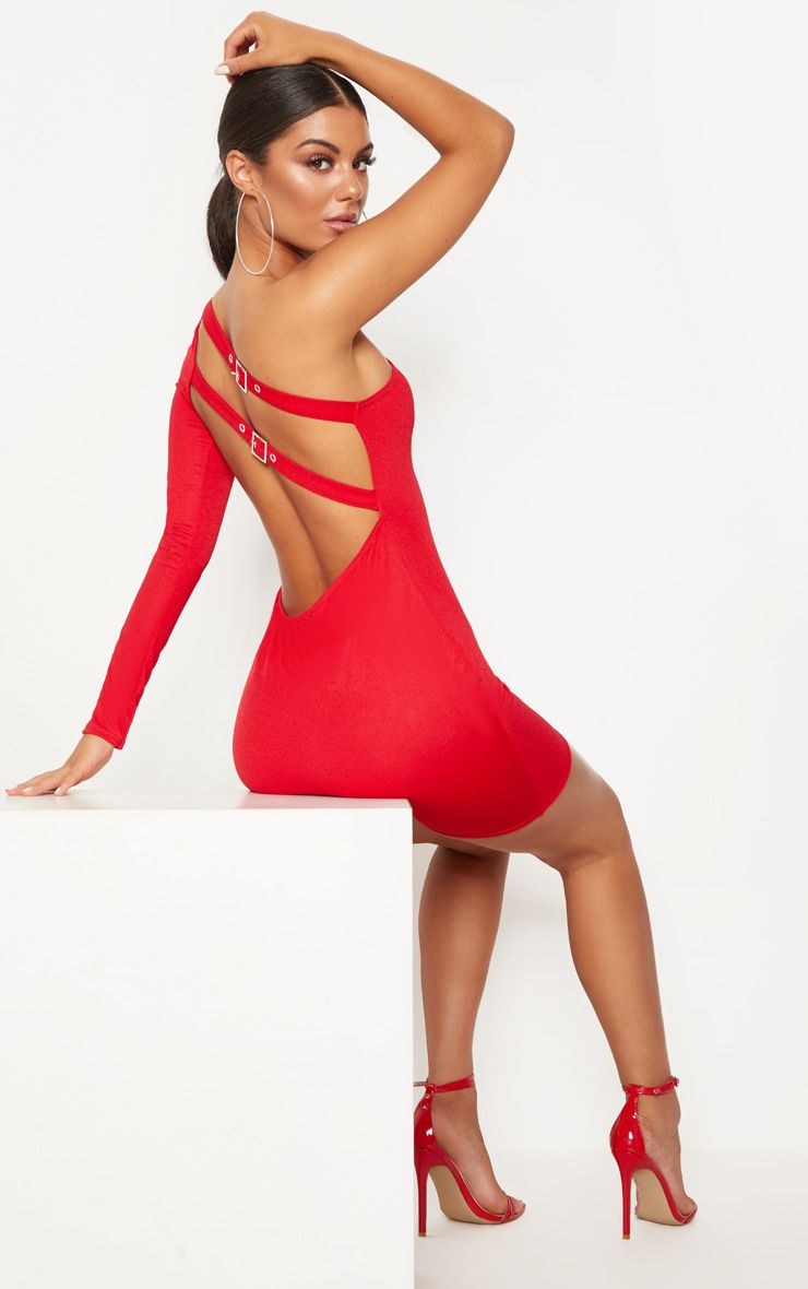 Red One Shoulder Buckle Detail Bodycon Dress